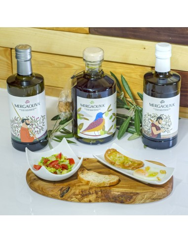 Olive oil and olive cutting board