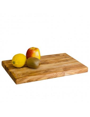Tabla madera olivo con frutas. Mergaoliva